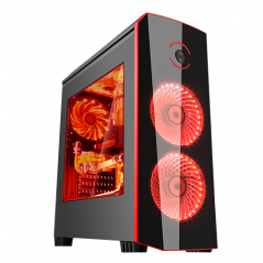 ITEK CASE ORIGIN GAMING MID TOWER, USB3, 2X12CM LED FAN, WINDOW, BLACK RED