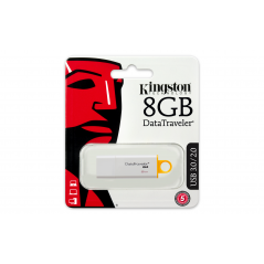 Kingston Technology DataTraveler G4 8GB 8GB USB 3.0 (3.1 Gen 1) Numero di grucce Bianco, Giallo unità flash USB