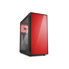 SHARKOON CASE AM5 WINDOW ATX 2XUSB2, 2XUSB3, 7 SLOTS, 2X140 FRONT, 1X140 REAR, RED