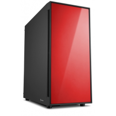 SHARKOON CASE AM5 SILENT ATX 2XUSB2, 2XUSB3, 7 SLOTS, 2X140 FRONT, 1X140 REAR, RED