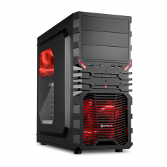Sharkoon VG4-W Midi-Tower Nero, Rosso