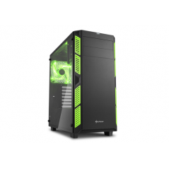 SHARKOON CASE AI7000 ATX 2XUSB2, 2XUSB3, 7 SLOTS, 2X140 FRONT, 1X140 LED REAR WINDOW VETRO TEMPERATO, GREEN