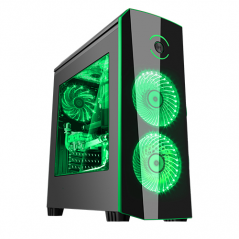 ITEK CASE ORIGIN GAMING MID TOWER, USB3, 2X12CM LED FAN, WINDOW, BLACK GREEN