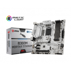 MSI MB B360M MORTAR TITANIUM MATX LGA1151 8TH GEN DDR4 PCI-EX1/16 M.2 SATA3 USB3.1 ARSENAL GAMING