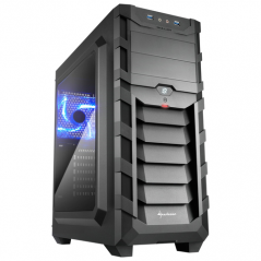 SHARKOON CASE ATX, 2XUSB3, 7 SLOTS, 2X120 LED FRONT 1X120 REAR, WINDOW ACRILIC, BLACK